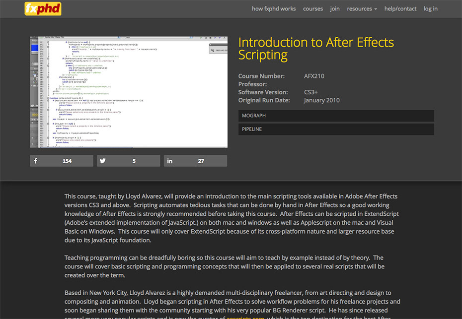 Places To Learn After Effects Scripting Online | Motion Array